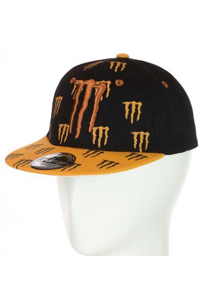 Кепка с прямым козырьком 82017-14 черный-темно-оранжевый