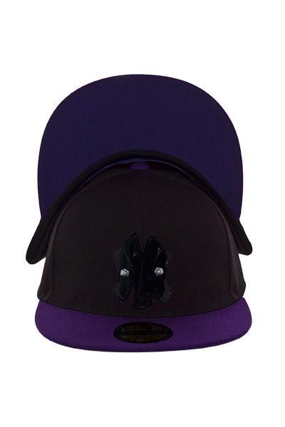 Кепка с прямым козырьком RP15001 черный-фиолетовый